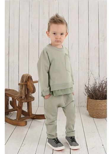 Nila Kids Açık Yeşil Rengi Erkek Bebek Cepli Organik Sweat NK08010AY (6 AY- 5 YAş) Renkli